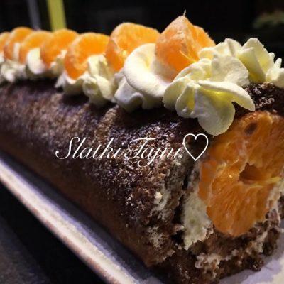 Cokoladen rolat bez gluten so mandarini